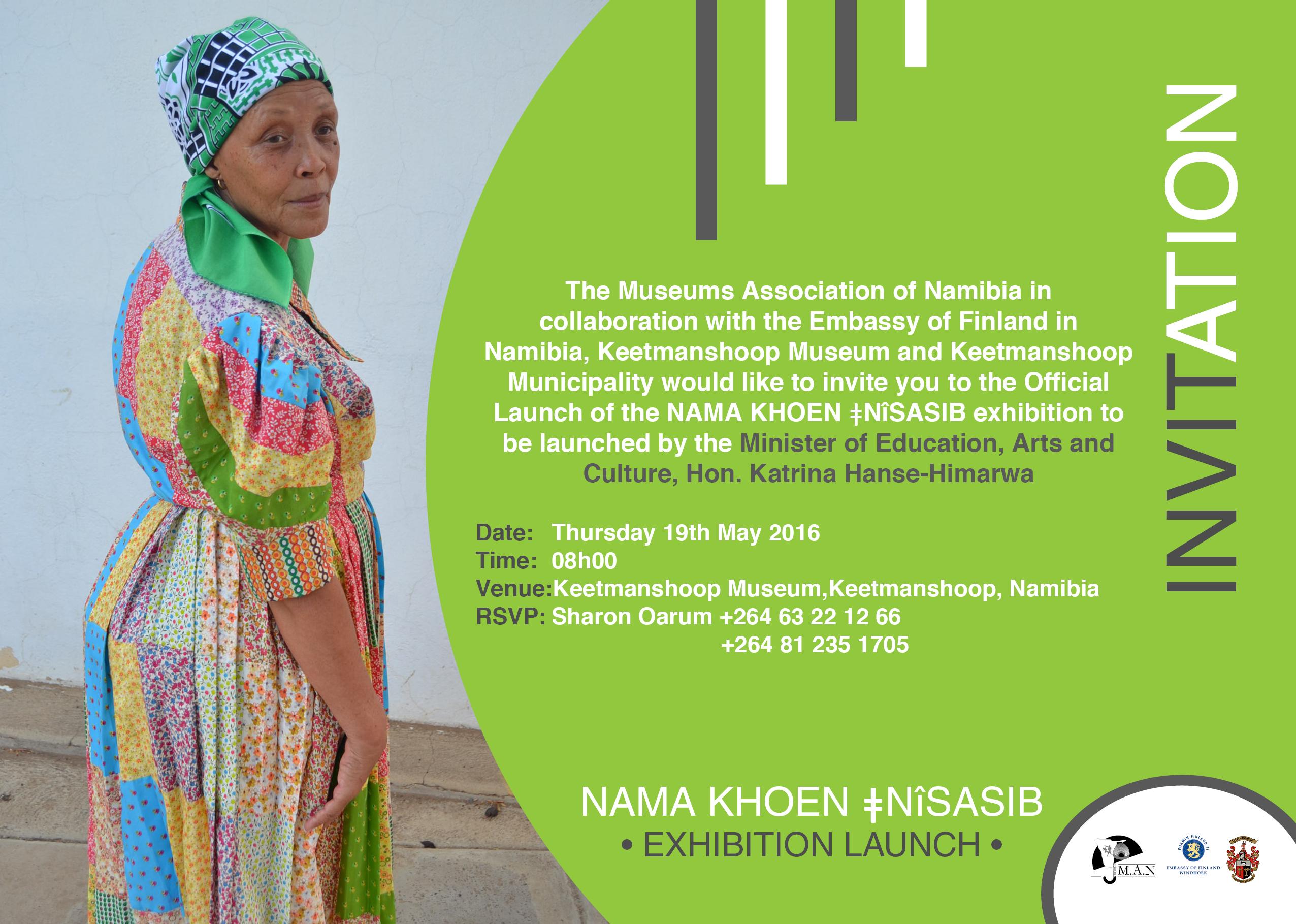 Invitation nama khoen nsasib exhibition official launch date thursday 19th may 2016 time 08h00 venue keetmanshoop museum keetmanshoop namibia rsvp sharon oarum 264 63 22 12 66 264 81 235 1705 stopboris Choice Image