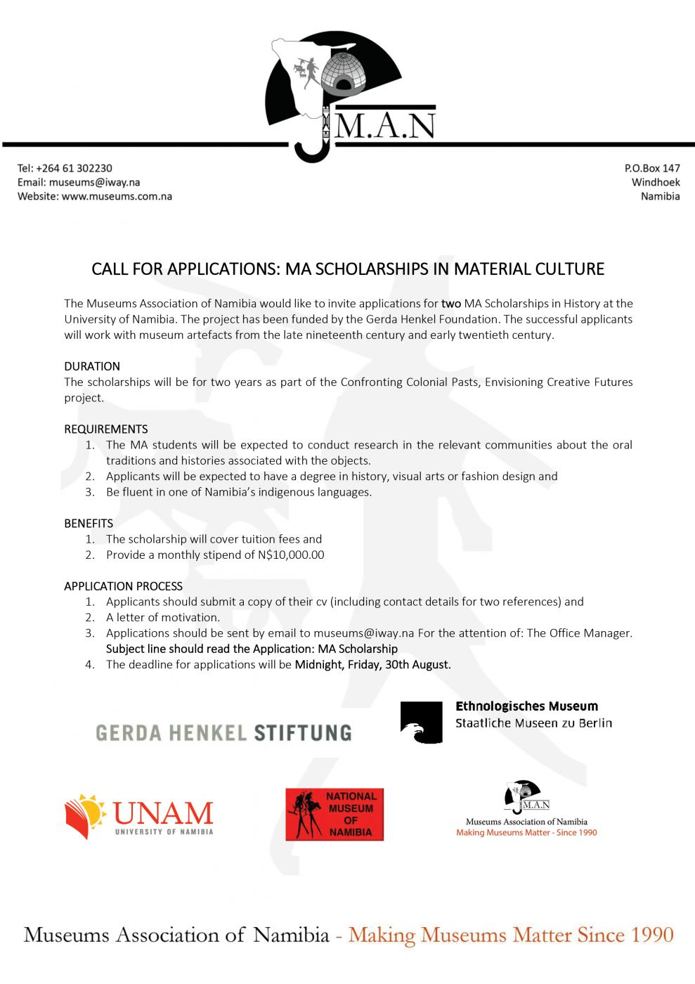 MA SCHOLARSHIPS IN MATERIAL CULTURE
