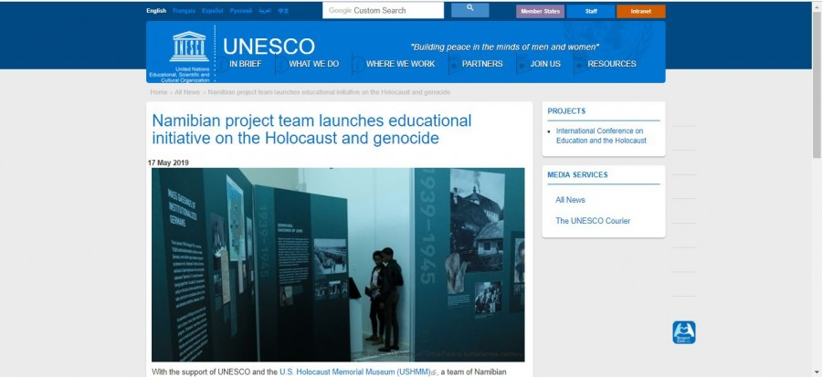 Screenshot UNESCO Website